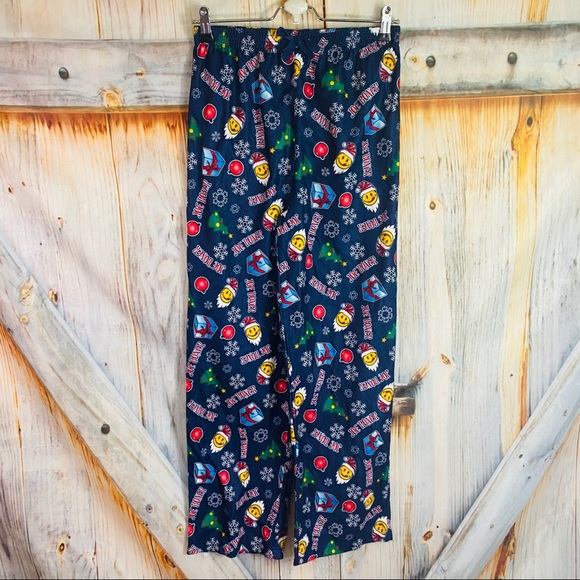 Joe Boxer Youth Flannel Holiday Blue PJ Bottoms XL
